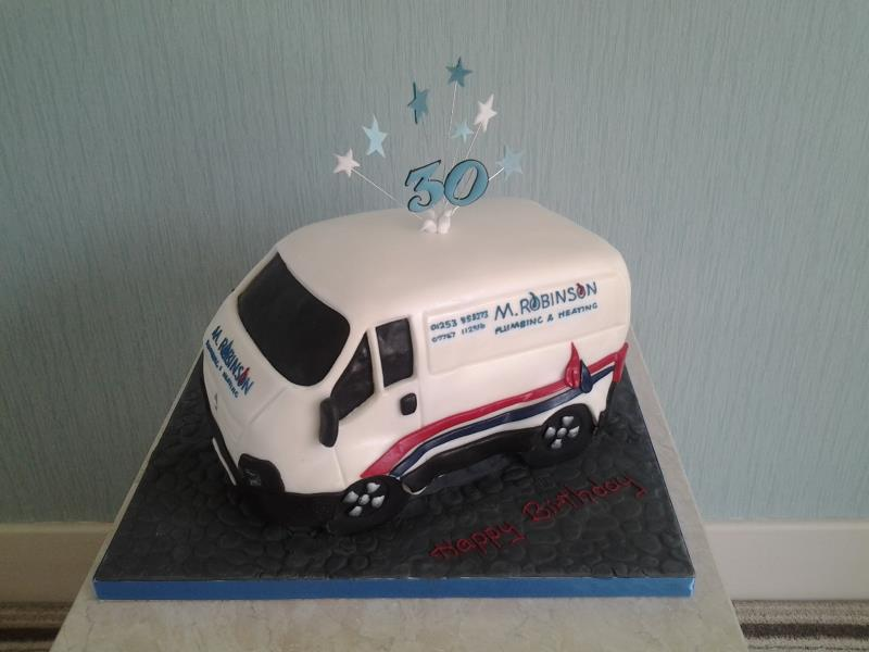 White Van Man cake for plumber Mark's 30th birthday in Preston, made from vanilla sponge