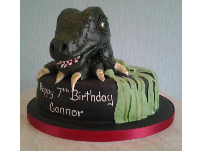 Dinosaur Head for Connor's 7th birthday in Thornton-Cleveleys, made from chocolate sponge