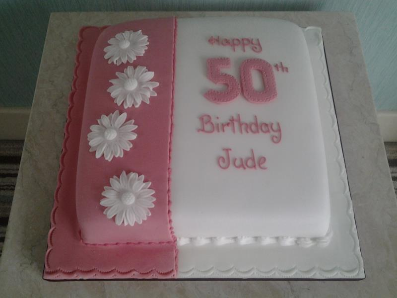 50th birthday cake in chocolate sponge for Jude in Freckleton, Preston