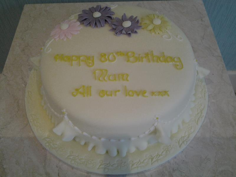 pretty 80th for Mum's 80th birthday in Bispham, made from lemon sponge