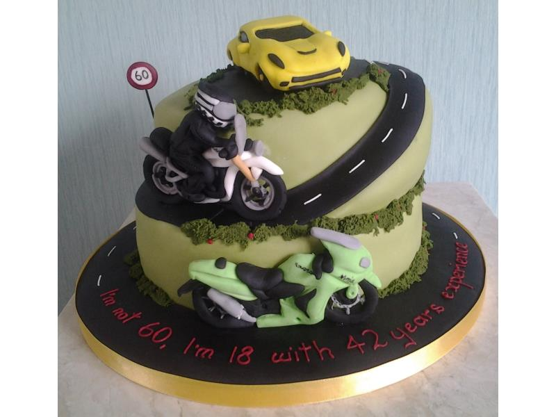 Biker - motorcycled themed birthday cake in Madeira for biker Perer's birthday in Thornton