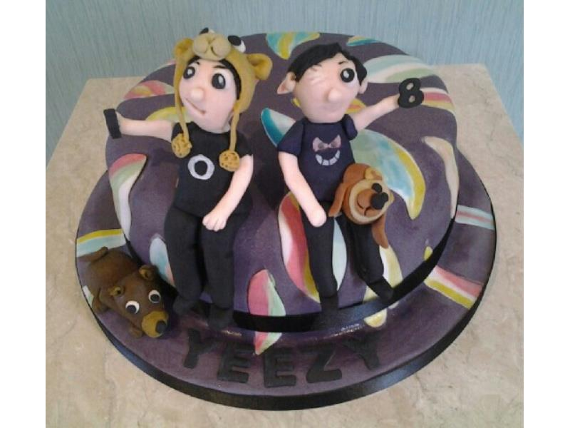 Stripes & Characters cake in Madeirafor Laura in Freckleton