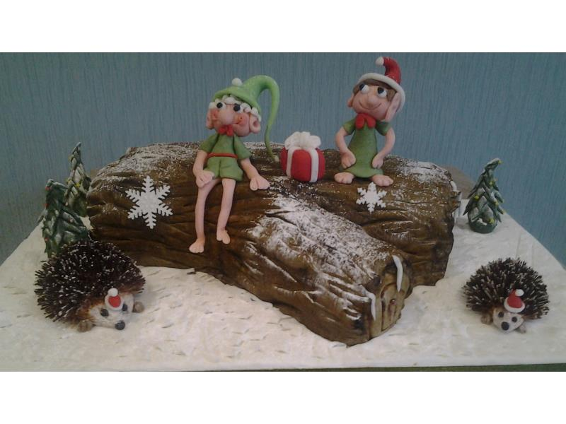 Christmas Log with elves and hedgehogs made from fruit cake for Sue & Brian in Bispham