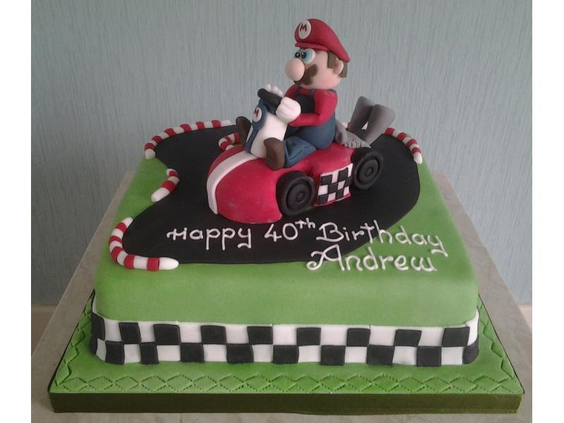 Super Mario in go kart made from Madeira for Andrew's 40th birthday in Blackpool
