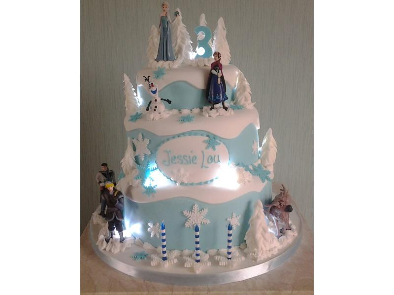 3 Tier Frozen Themed Birthday Cake With Lights In Chocolate Sponge And Vanilla For 3rd