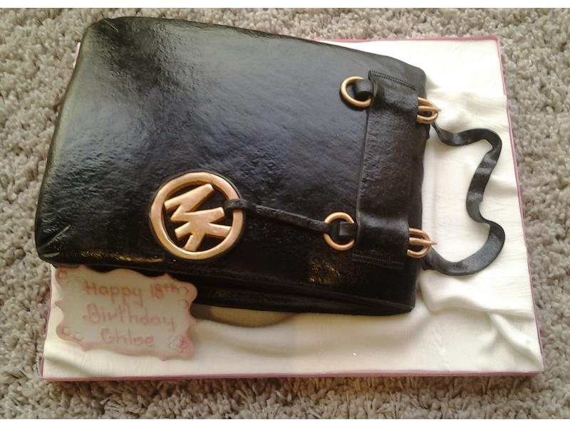 Michael Kors handbag cake in plain sponge for Chloe's 18th birthday in Thornton-Cleveleys