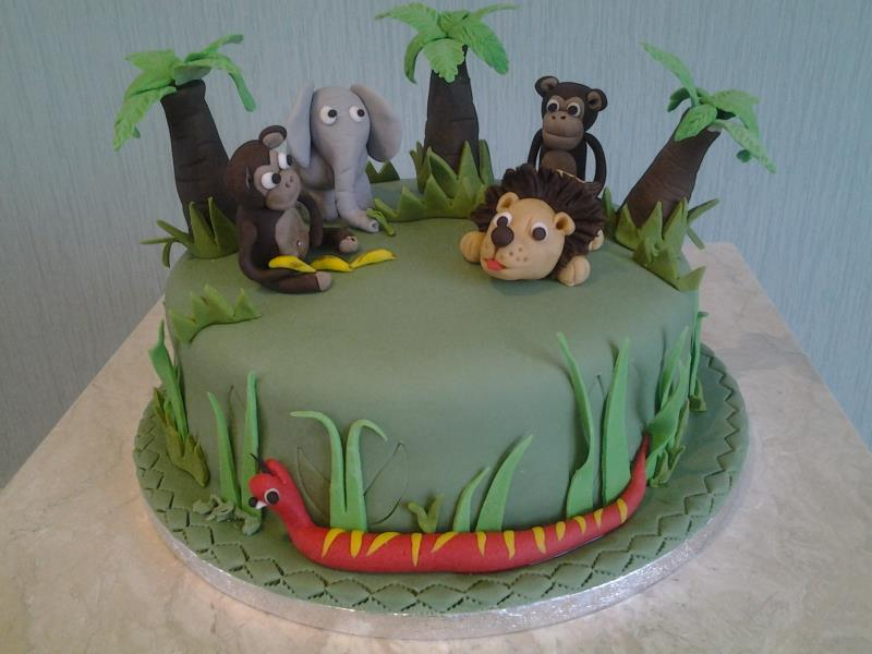 Jungle animals themed birthday cake made from chocolate sponge for Rory in Wesham