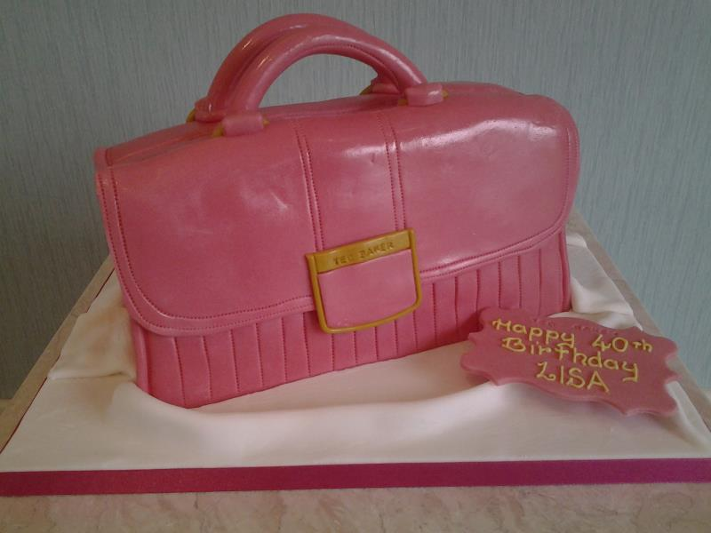 Ted Baker pink handbag cake in Madeira for Lisa in Blackpool