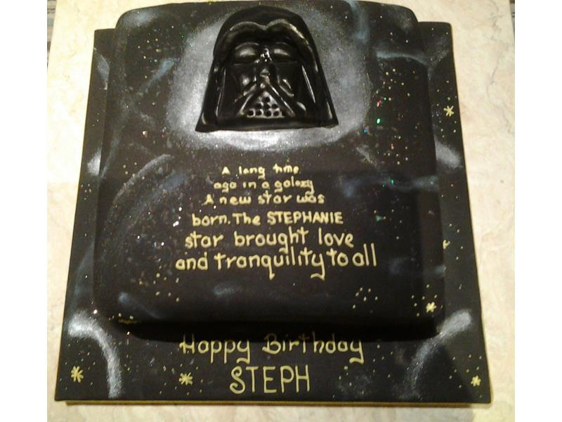 Darth Vader - Star Wars themed cake with Star Wars scrolling crawl in vanilla sponge for Stephanie in Blackpool