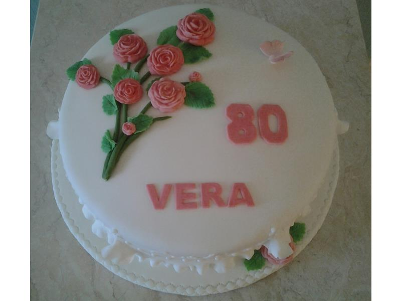 Vera 80th birthday cake in vanilla sponge in Thonton-Cleveleys