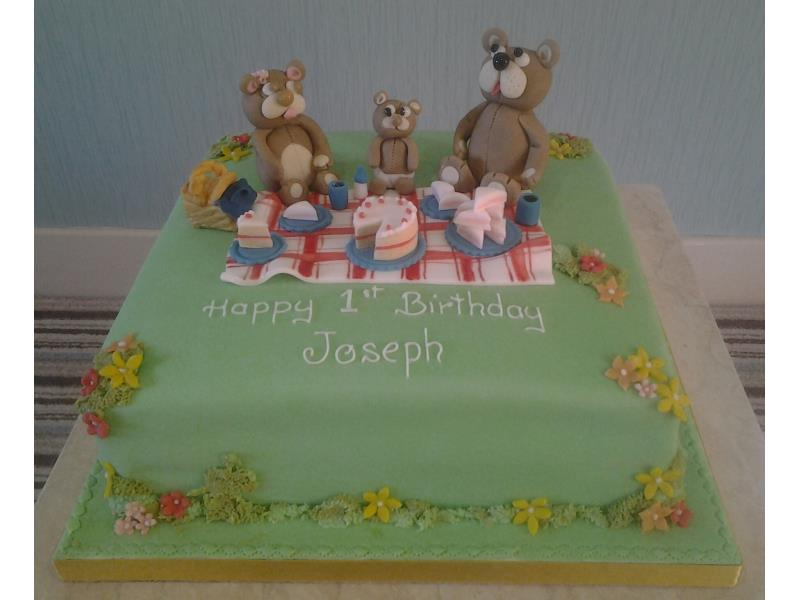 Tedy Bear's Picnic with cake and drinks made in Madeira sponge for 1st birthday in Lytham St Annes