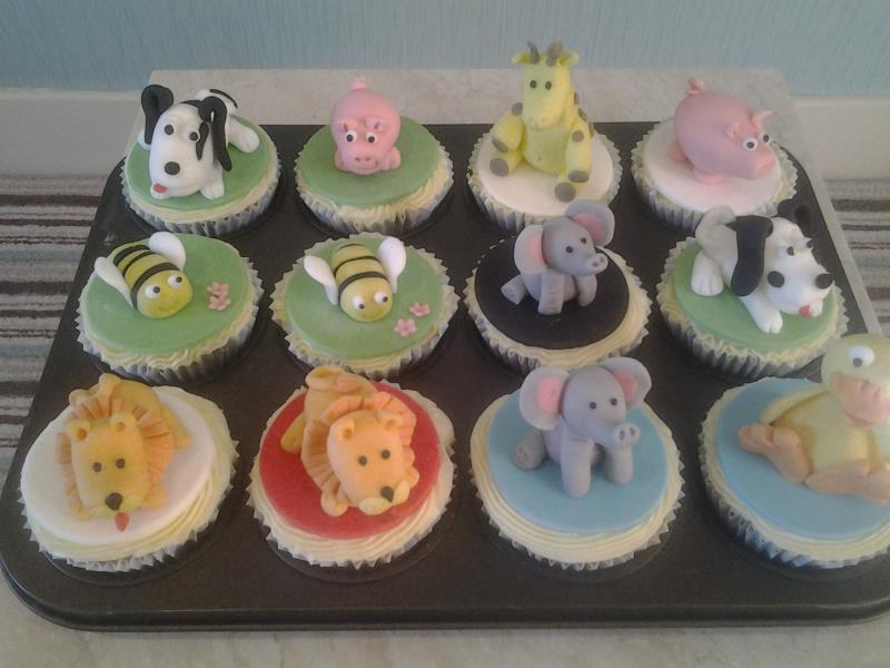 Cute Animals Cupcakes for Joseph's 1st birthday in Lytham, made from lemon sponge