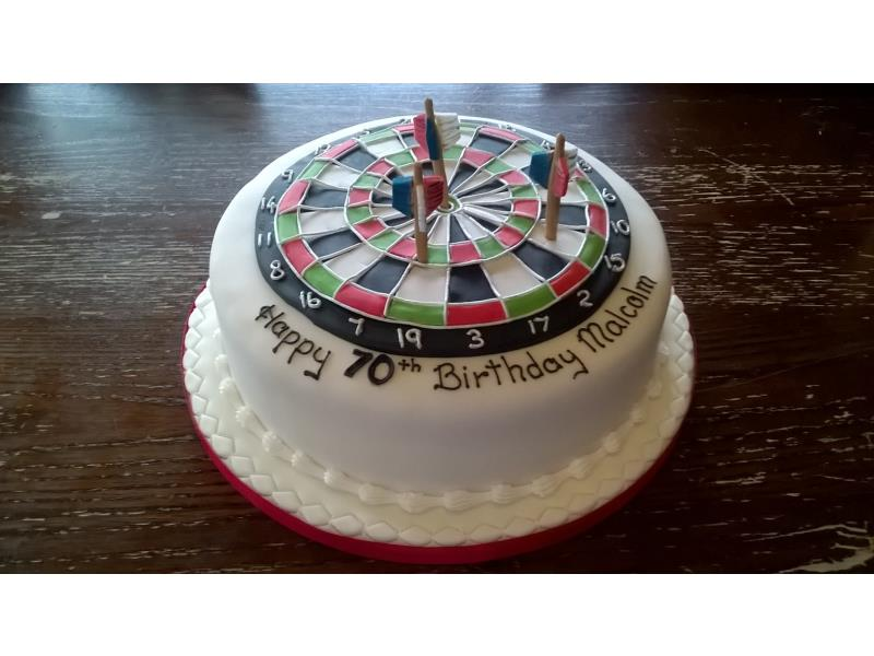 Dartboard - Malcom's 70th birthday in Lytham St Annes. Cake made from Madeira