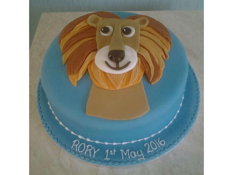 Lion face for lionmad Rory in Lytham on his 1st birthday. Made in chocolate sponge