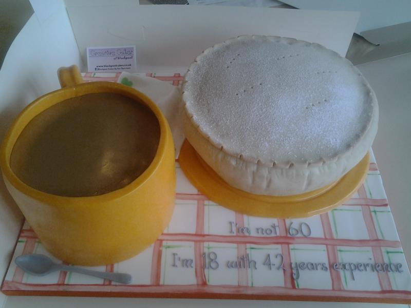 Mince Pie and mug of tea (don't ask!) made from lemon sponge fo 60th birthday in Fulwood