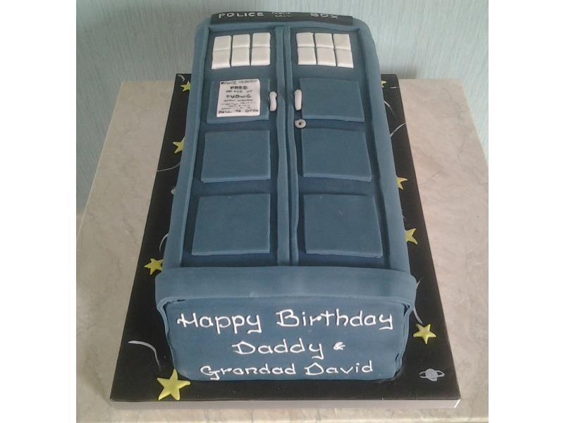 Dr Who's Tardis for David's birthday in St Annes, made in chocolate sponge