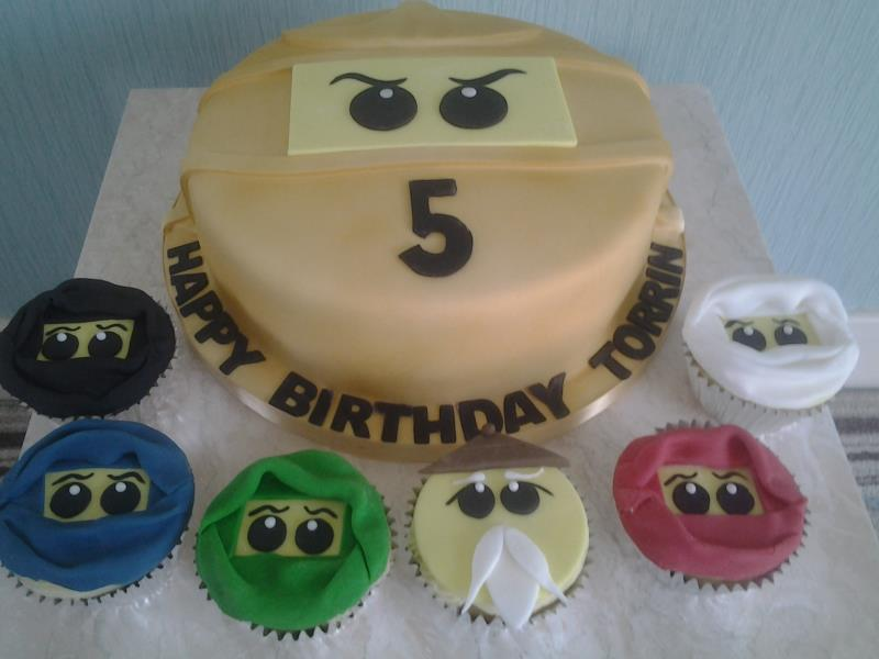 Ninjago cake and cupcakes for Torrin in Wesham with chocolate and Madeira sponges