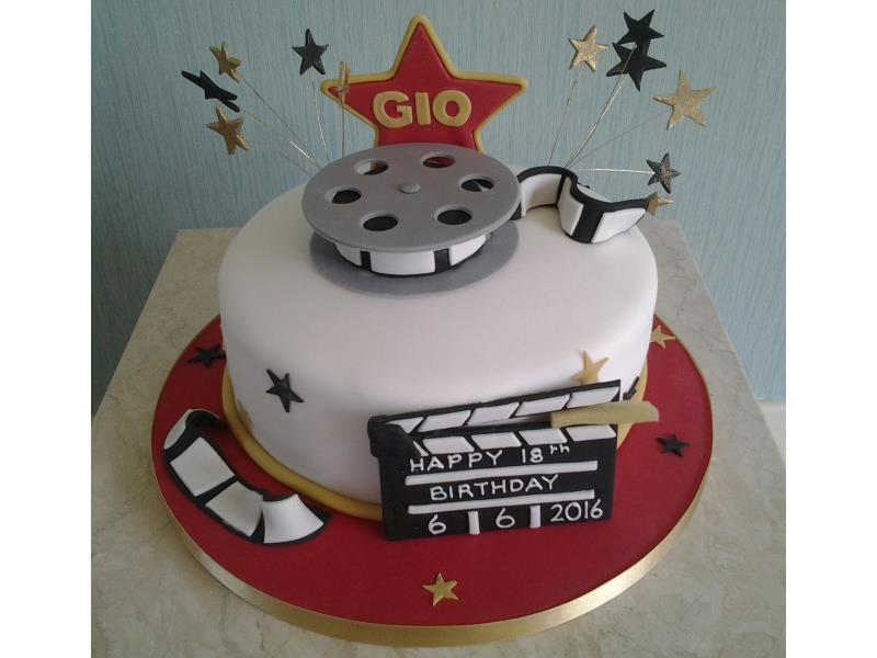 Filmmaker - spool, clapperboard and reel for Gio's birthday, made from chocolate sponge in Blackpool