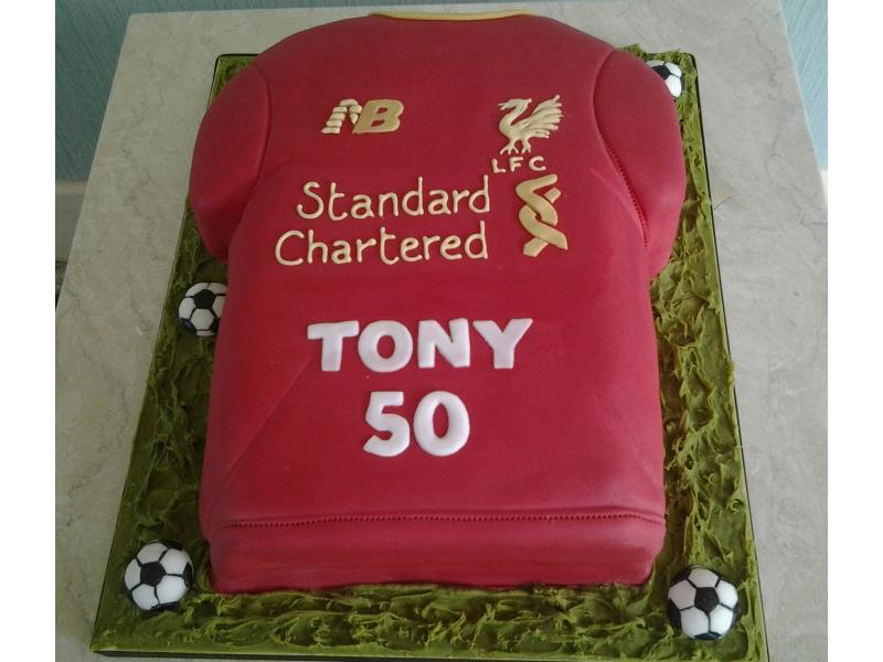Liverpool shirt in chocolate sponge for Tony's birthday in Blackpool