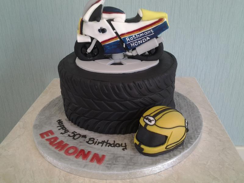 Tyre Cake in plain sponge with helmet and Rothmans Honda motorcycle for Eamonn's 50th in Blackpool