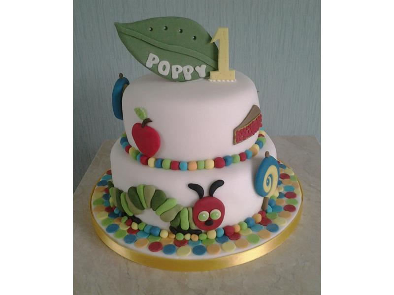 Caterpillar cake - 2 tiers for poppy in Blackpool made from Madeira and lemon sponges