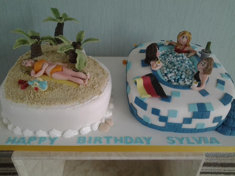 Beach scene and hot tub in vanilla sponge for sylvia and friends in Preesall