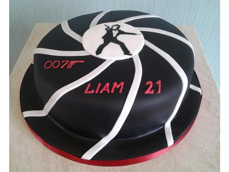 James Bond themed cake for Liam's 21st in Blackpool, made from plain sponge