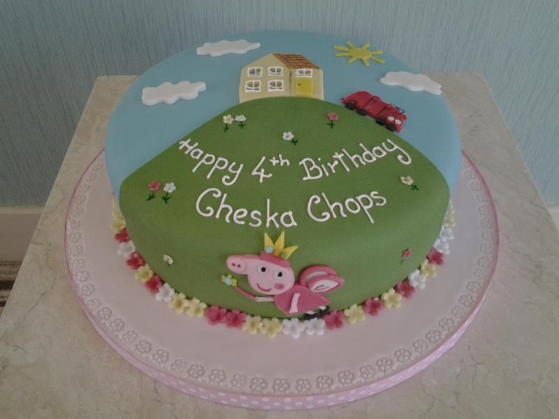 Princess Peppa Pig with house on the hill, made from vanilla sponge for Cheska Chops in Preston