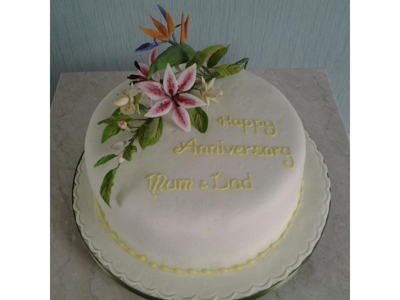 Hand modelled Bird of Paradise and Orchid for  Rosie in Poulton made from Madeira sponge for a special wedding anniversary