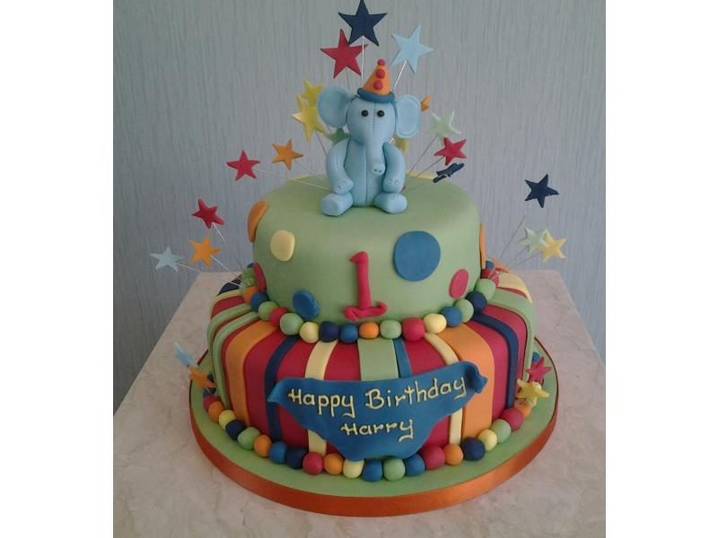 Elephant, balls and stripes with colourful starbursts for harry's birthday in Blackpool, made from vanilla sponge