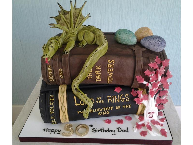 Lord of the Rings meets Stephen King books in plain and chocolate sponges for Dad in Blackpool