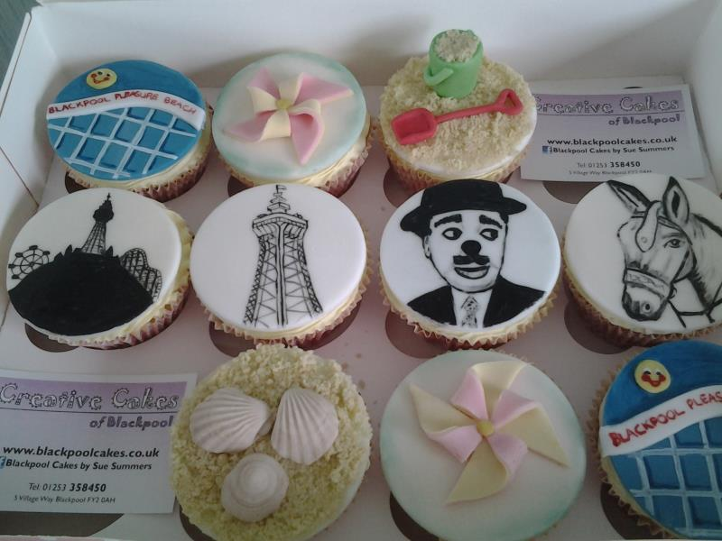 Blackpool-themed cupcakes for Paula in Blackpool featuring Charlie Cairoli, Blackpool Tower,Blackpool Pleasure Beach logo, donkey,bucket & spade.