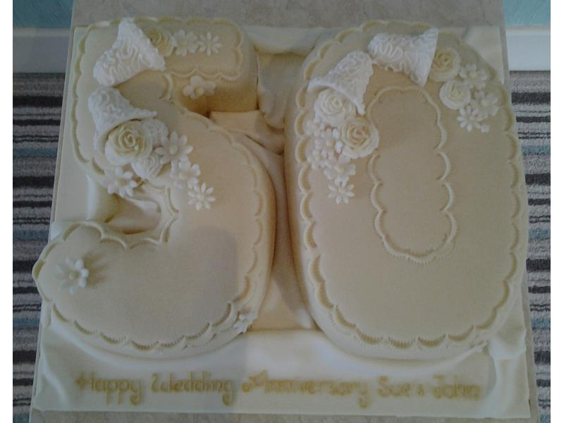 Golden wedding anniversary in Wrea Green made from plain sponge