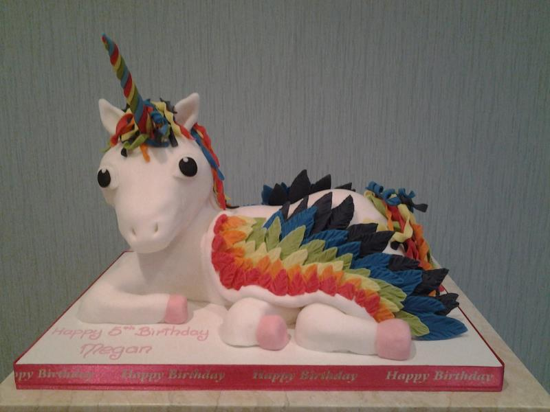 Megan5- Unicorn cake made from a mixture of Rice Krispies and marshmallow for that special grandaughter's 5th birthday in Bispham