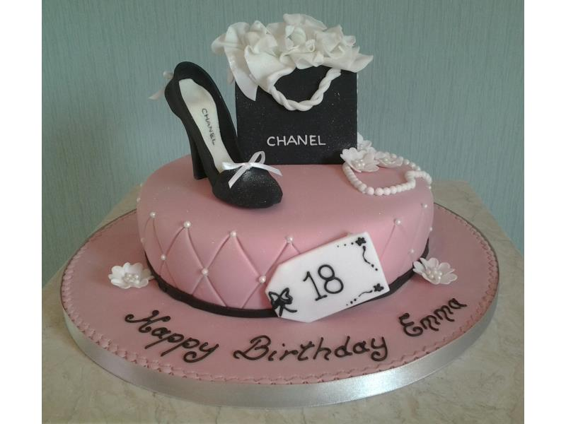 Chanel - gift bag in chocolate sponge with black shoe and bracelet for Emma in Thornton