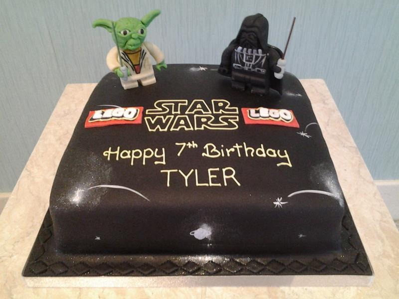 Star Wars with Lego in chocolate sponge with Yoda and Darth Vader figures for Tyler in Poulton