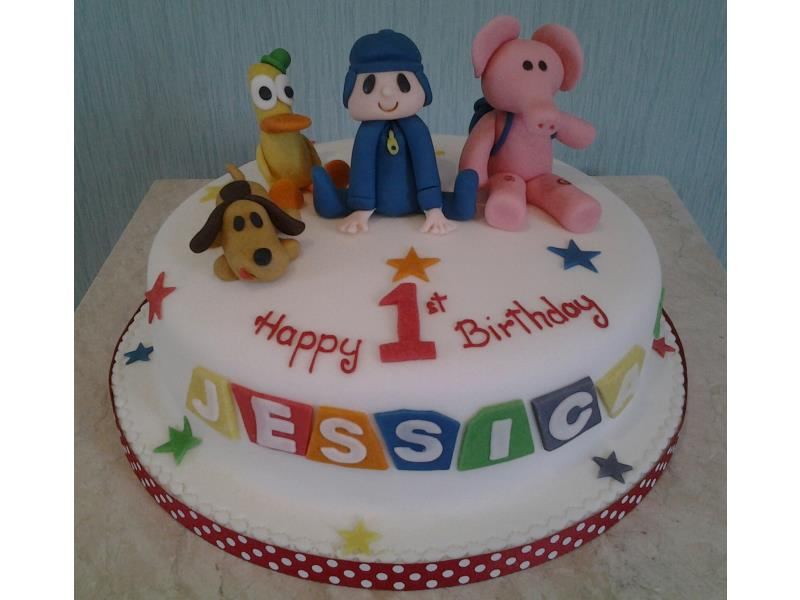 Pocoyo - colourful 1st birthday cake in vanilla sponge with Pocoyo, Pato, Elly and Loula for Jessica in St Annes