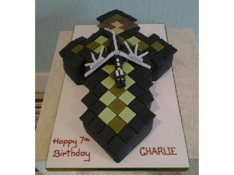 Minecraft Diamond Sword in chocolate sponge for Charlie in Blackpool