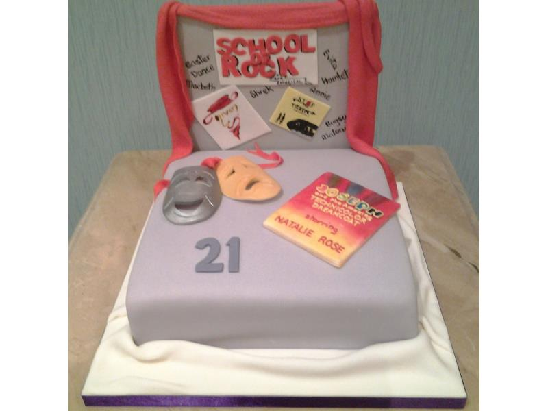 Theatre themed 21st birthday cake for Natalie in Thornton made from chocolate with orange sponge.