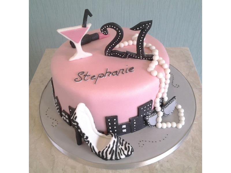Girlie cake with lipstick, pearls and heels for Stephanie of Blackpool. Cake made from Madeira