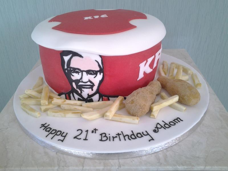 KFC chicken & Fries-all edible with Madeira sponge for birthday in Blackpool