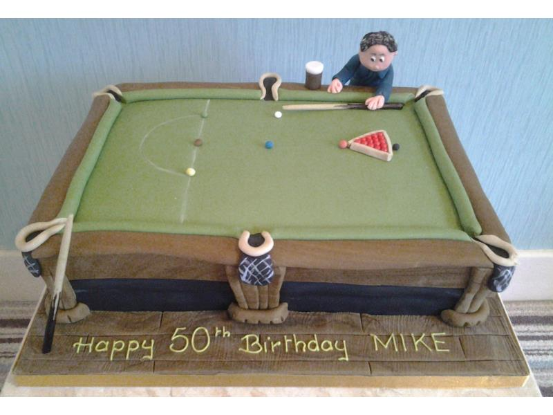 Snooker Table and players in chocolate sponge for Lisa in Blackpool
