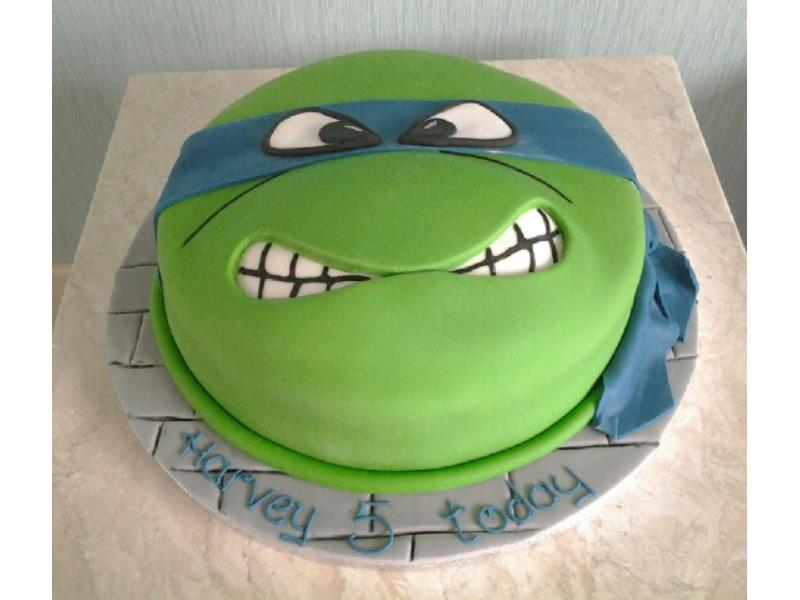 Ninja Turtle head for Harvey's 5th birthday in Blackpool, made in vanilla sponge