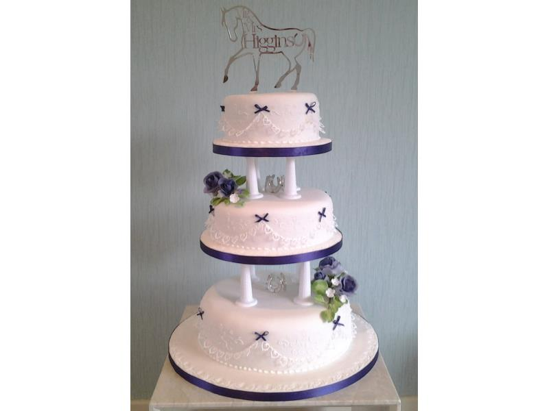 Flowers & Pillars - 3 tier wedding cake in vanilla  and lemon sponges and fruit cake for Nicola and Daniel in Blackpool
