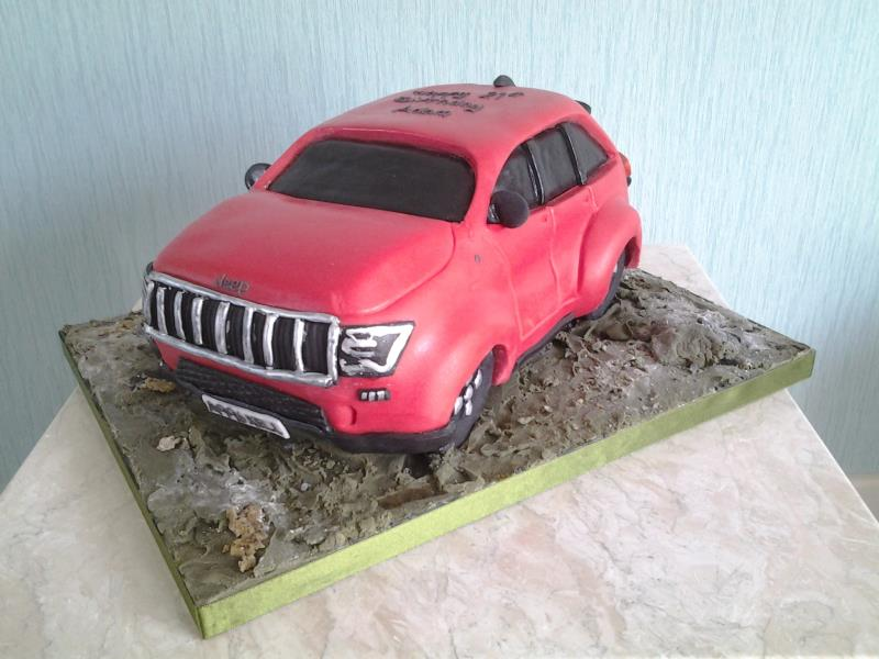 Adam -3D Jeep cake in plain sponge for 21st birthday in Fleetwood