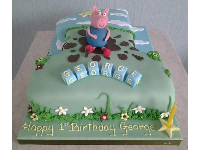 George - from Peppa Pig, 1st birthday cake in cholcolate sponge for George in Cleveleys