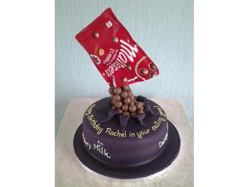 Maltesers - gravity defying cake in chocolate with orange sponge for Rachel in Lytham