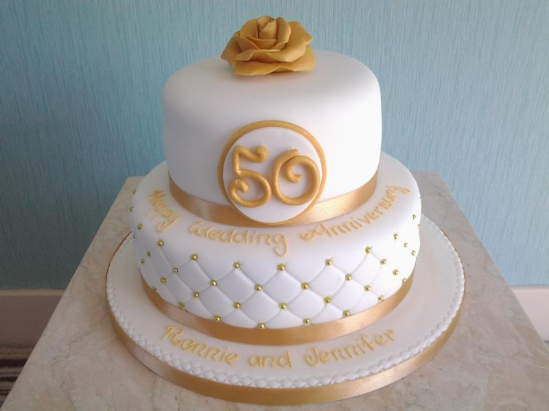Quilted effect Golden Wedding Anniversary cake for Jennifer & Ronnie in Preston, made from vanilla sponge.