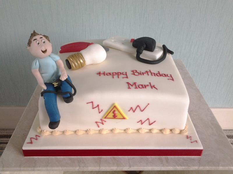 Sparks - birthday cake in vanilla sponge for elecrtician Mark in Freckleton