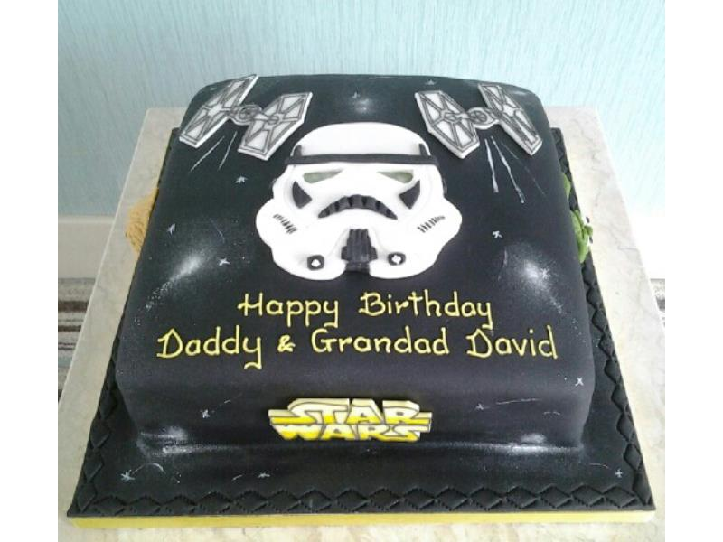 Storm Trooper themed birthday cake for David's birthday in Lytham, from chocolate sponge